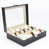 10 grid Leather watch box display case packaging watch boxes custom