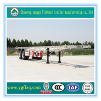China Famous Jingyanggang Brand 2 Axles Container Transportation Semi Trailer truck trailer for sale