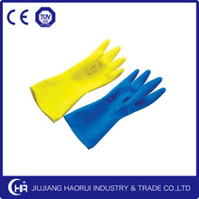 Green & Yellow spray flocking Latex Household Gloves