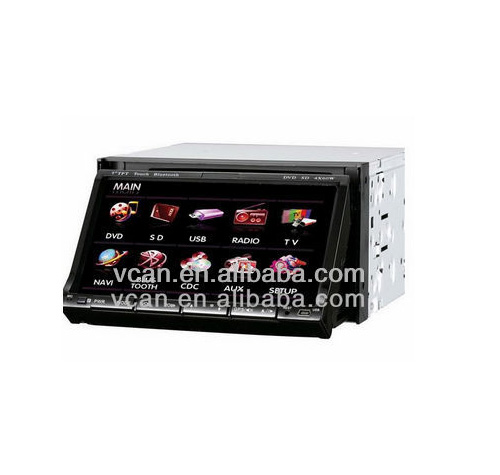 GPS-7102 7 inch double din gps system car DVD Build in TV Tuner 45*4 Amplifer Built in GPS
