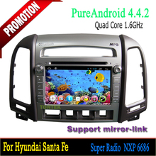 Pure Andriod Car with radio tuner Quad Core 2 din car dvd player 2 years warranty for Hyundai Santa Fe 2006-2012/mp3 mp4 player