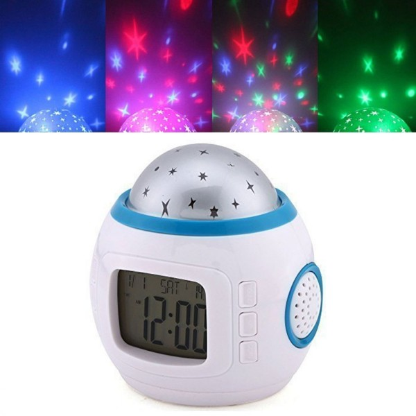 Music Starry Star Sky Projection Alarm Clock with Calendar Thermometer
