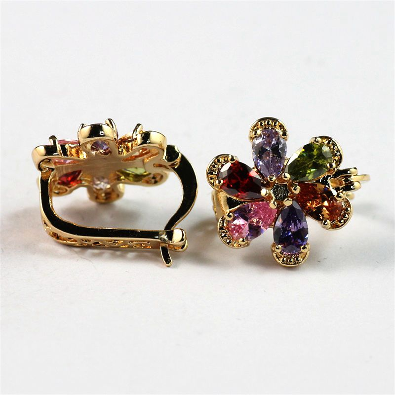 18K 22K Yellow Gold Plated Colorful AAA Zircon Crystal Fancy Flower Women Huggie Hoop Earrings
