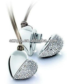 Hot Sale Jewlery Necklace Heart Shape Flash Driver 16gb with Super Promotional Gift
