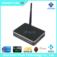 Ipush U8 Quad Core Google 4k android tv box 4.4 2GB 8GB kodi wifi dual band wifi 3D support BT
