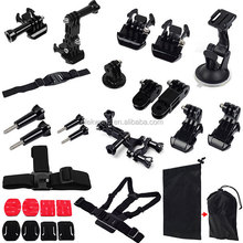 Accessories for Go pro 15-in-1 Set Suction Cup+Chest Strap+Head Strap+Helmet Strap+Mounts+Stickers+Pouch for GoPros edition