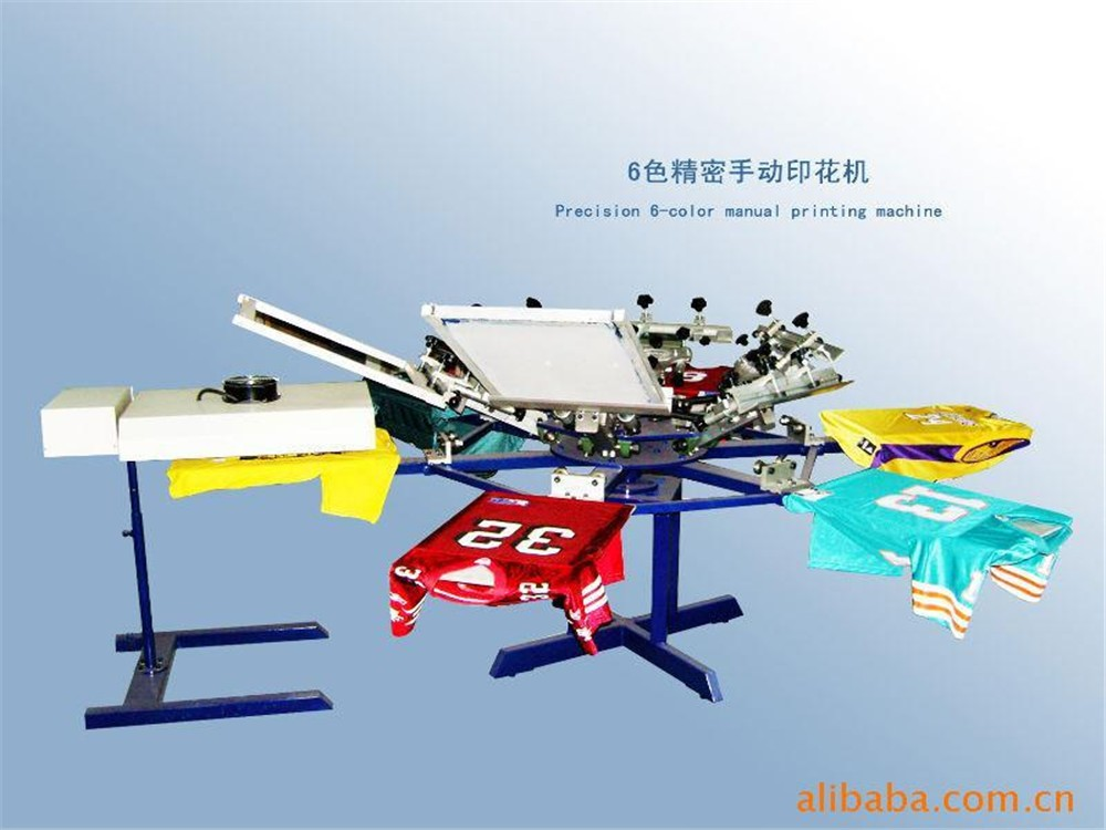 Popular rotary 6 color 6 station t-shirt screen printing machine with dryer