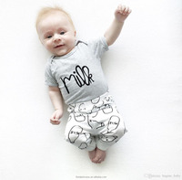 2017 Summer INS Best Selling Baby Boy Set 2PCS/Set T-shirt+Pant white Kids Clothes Arrow Printing Baby Clothing Cotton100%