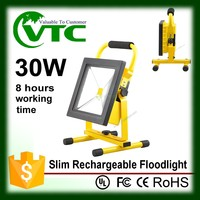 Portable 12v light weight battery packs IP65 outdoor 30W dimmable rechargeable flood lights