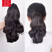 Curly Fake Hair Piece Extension Jaw Claw Clip In Ponytail Hairpieces