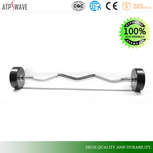 Sale Fitness Training Weight deluxe rubber curl barbell,Pure natural baling barbell