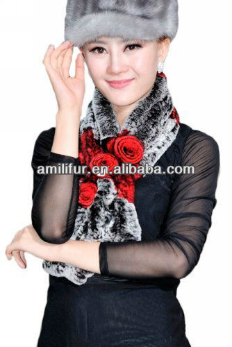 long 100% real genuine rex rabbit fur knitted scarf with flower for women