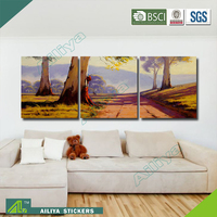 Home decor hotel wall art handmade three panel waterproof abstract oil painting on canvas