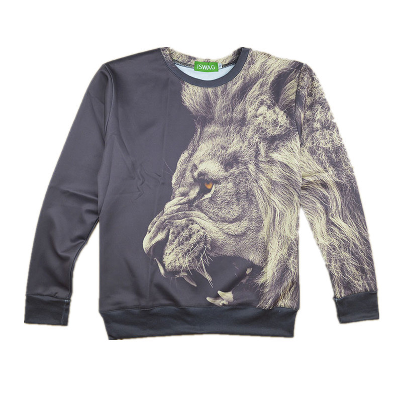 2015 New Fashion Sweatshirt Fall/Winter Casual Black Lion Head Loose Pullover Animal 3D Print Lion Sweatshirt For Men/Women