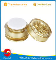 Shinning gold cosmetic face cream jar, small plastic container 5g