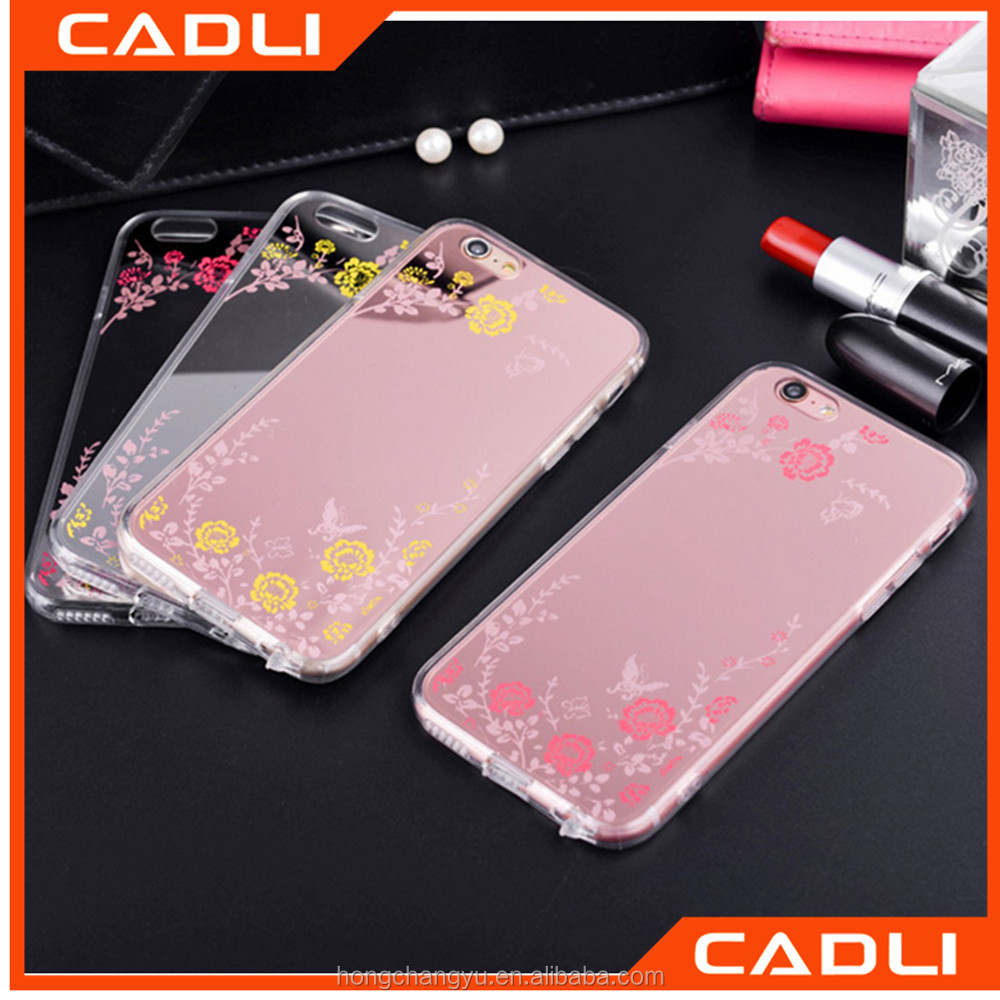 Secret Garden Luxury Soft Plating Flower TPU Silicon Protective Acrylic Mirror Back Cover Case For iPhone 5 5S 6 6S Plus
