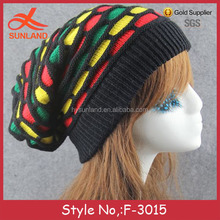 F-3015 new winter chunky men jamaica knitted free rasta hat crochet slouch pattern beanie hat