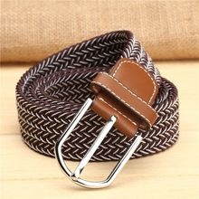 Brown Men's Braided Elastic Fabric Belts