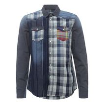 High quality Light blue 100%Cotton Washed Denim/Retro Cowboy Shirt for men with S,M,L,XL,XXL