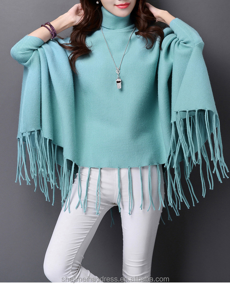 popular design multicolor sweaters shawl cloak high neck women knitted cardigan 2016