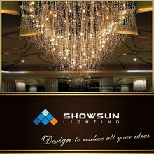 High end optical fiber crystal pendants flush mounted contemporary lighting