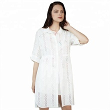 Button up New Design Casual White Long Sleeve Custom Woman Shirt