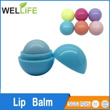 Private Label Organic Mineral Round Roller Ball Lip Balm, Cruelty Free Cute Ball Lip Balm with SPF15 and fruit