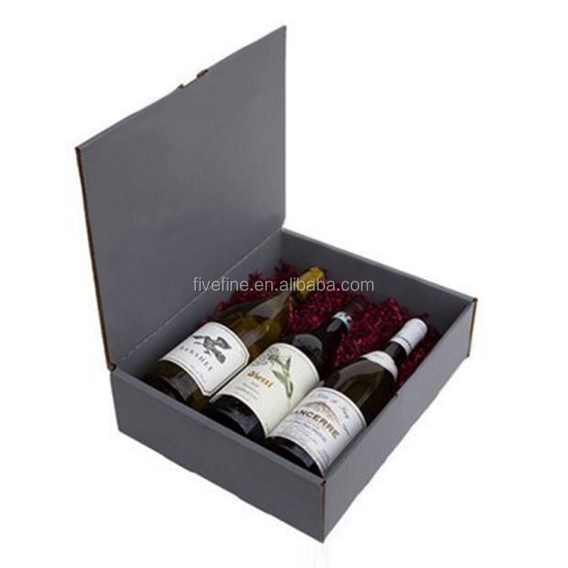 High quality book shape wine packaging box for 3 bottles