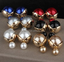 Fashion Body Jewelry Stainless Steel Gold Pearl Earring