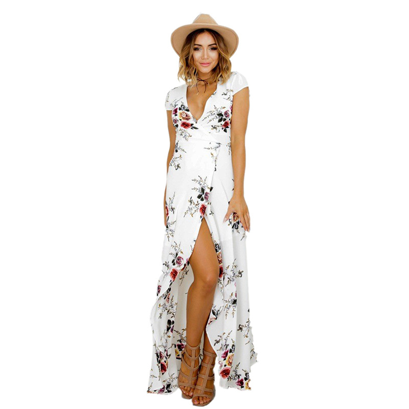 New style fashion white printed casual side open fork dress short sleeve women long dresses