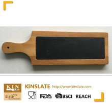 Natural acacia wood with slate cheese paddle