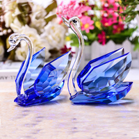 A Pair Of Crystal Glass Swans Figurines Paperweight Crafts Fengshui Ornaments Home Decoration Wedding Valentine's Day Gifts
