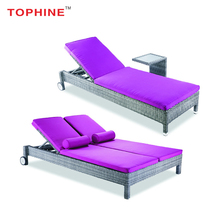 TOPHINE Outdoor Furniture Poolside Rattan Wicker Pool Sunbed