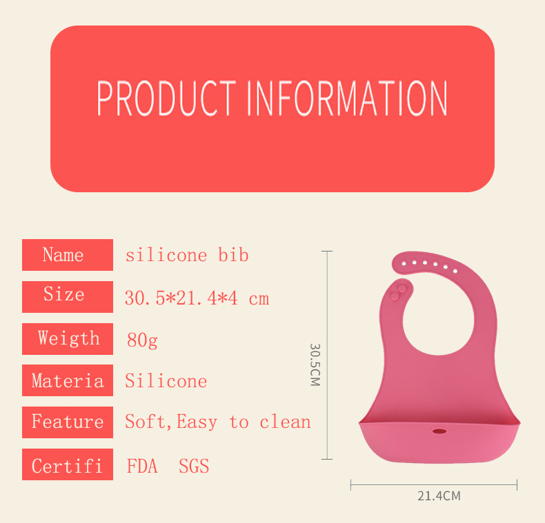 Haute qualité silicone bavoir de bébé doux résistant à l'huile et sale