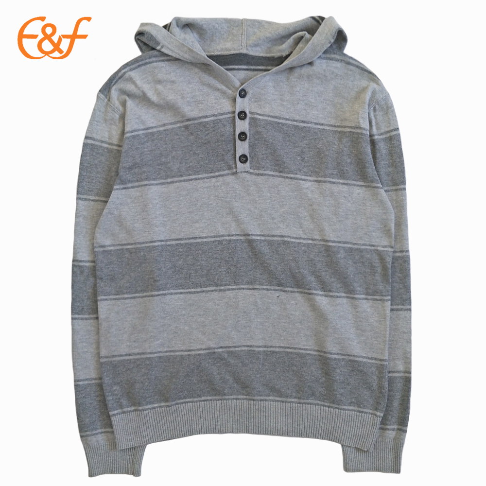 Mens Pullover Hoodie Button Sweater Striped Jumper