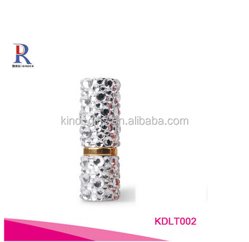 Bling bling pure white crystal embellished best selling clear custom logo gold lipstick tube