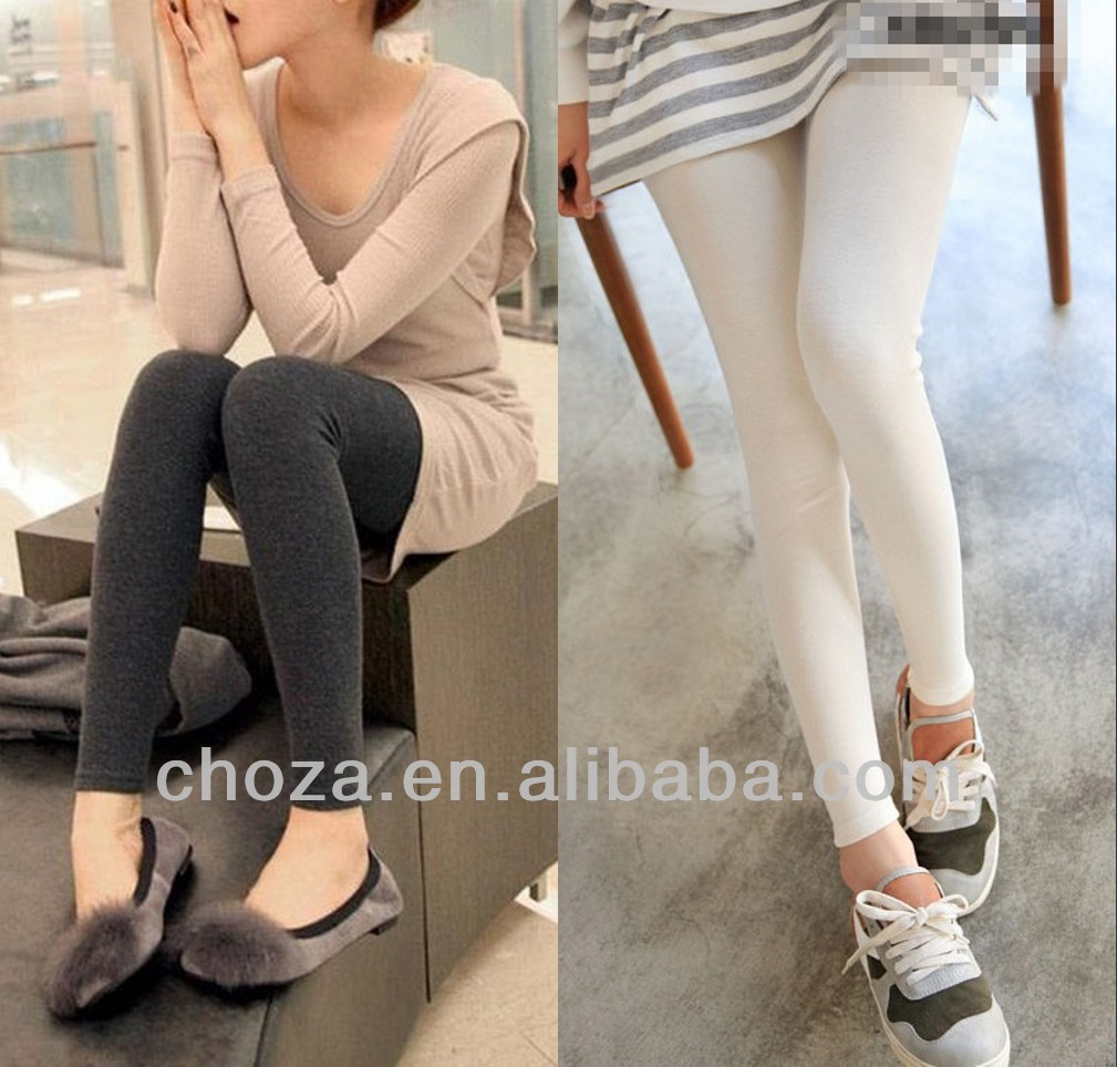 C10939C LATEST FASHION PLUS SIZE SOLID COLOR DESIGN COTTON LADIES' LEGGINGS