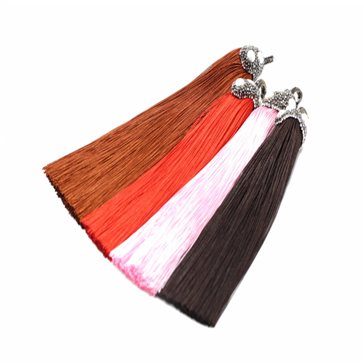 High quality colorful pave crystal long silk tassel pendant for jewelry making with pearl