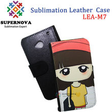Customize phone pu leather case for htc one m7