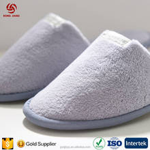 Hign Quality Gray Anti-slip Coral Velvet Closed Toe Slipper Hotel Guest Spa Disposable Shoe