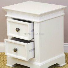 Classic rustic finished 2 drawers wooden bedside table