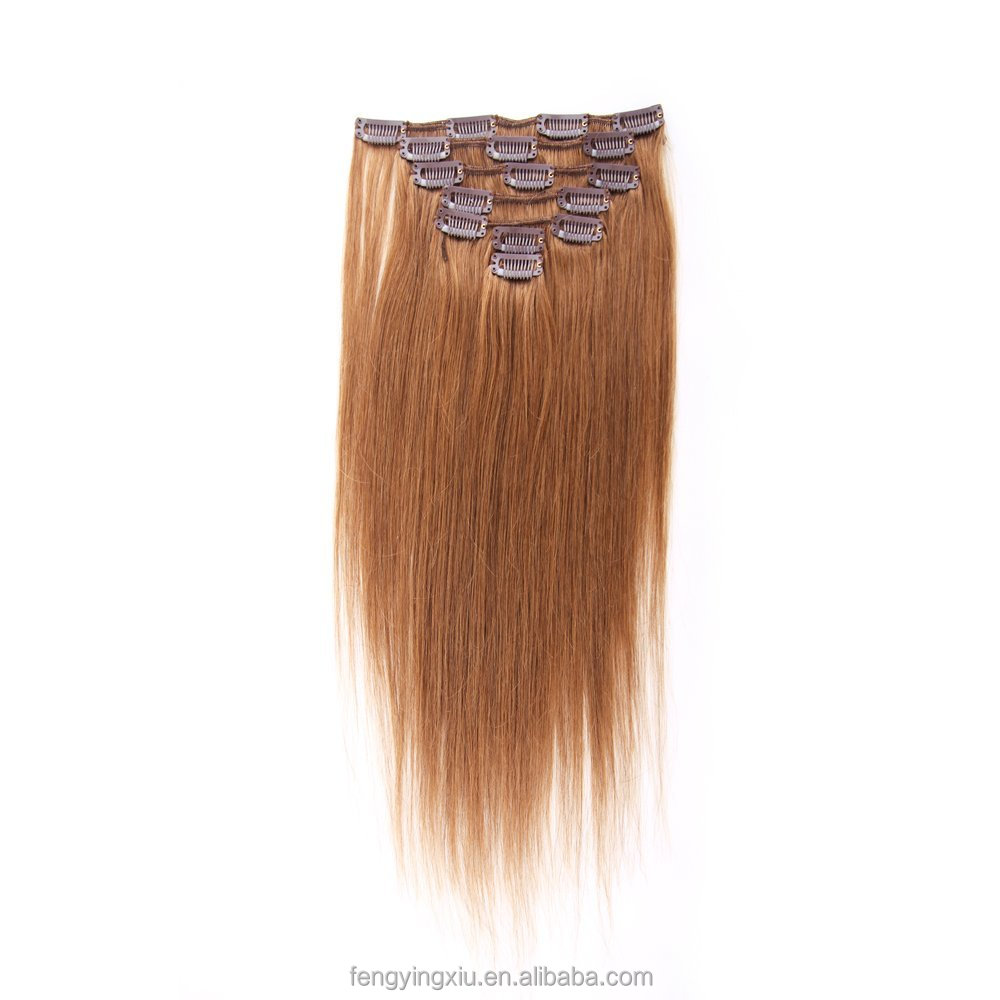 "7 Clips in Hairpieces 18""04# Straight European Clip In Hair Extensions Cheap Full Head One Piece Clip in on European Hair Pieces"