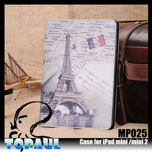 Retro eiffel tower girls leather case for ipad mini