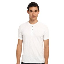 lastest fashion design plain white t-shirt no logo and label tee shirt with buttons