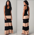 2014 new hot sale! Colorblock black& Taupe Biscot multi color jersey long tank maxi dress striped chervon SML China