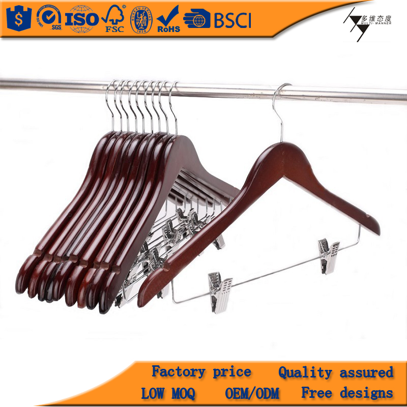 Best Quality Clothes Hanger With Metal Bar/Clips, Assessed High Quality Wood Hanger