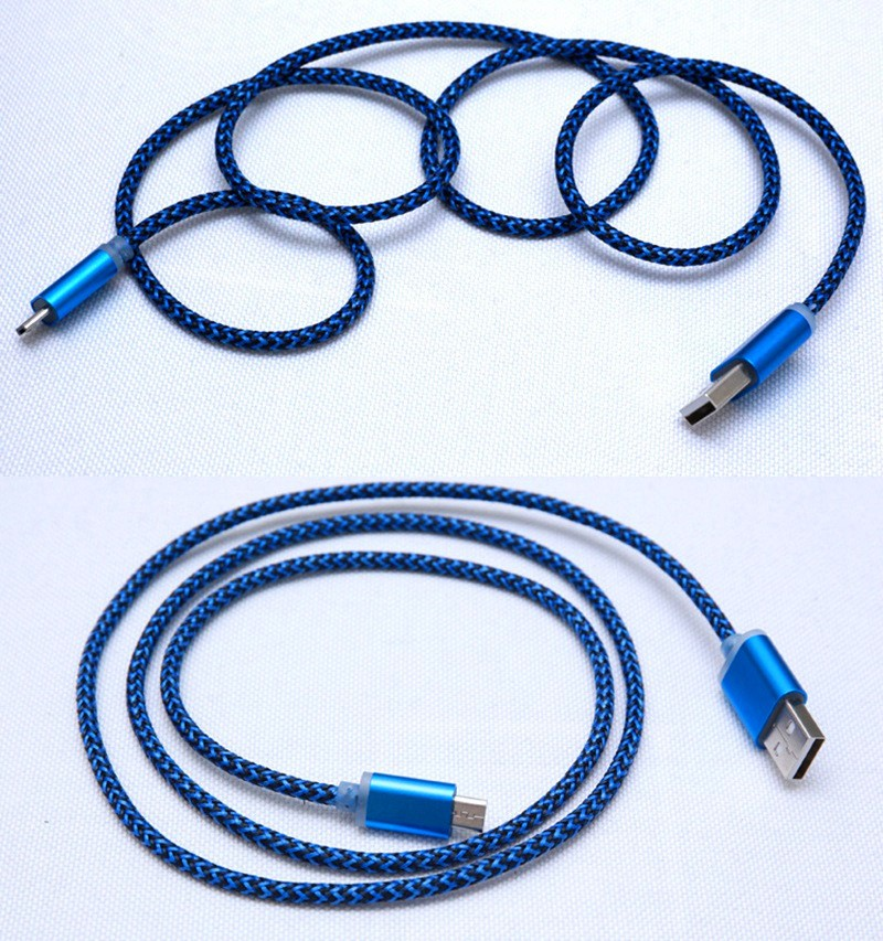 1M 3FT Flat Noodle Nylon Fabric Braided Micro USB Cable V8 Sync Data Charger Line Cord For Samsung