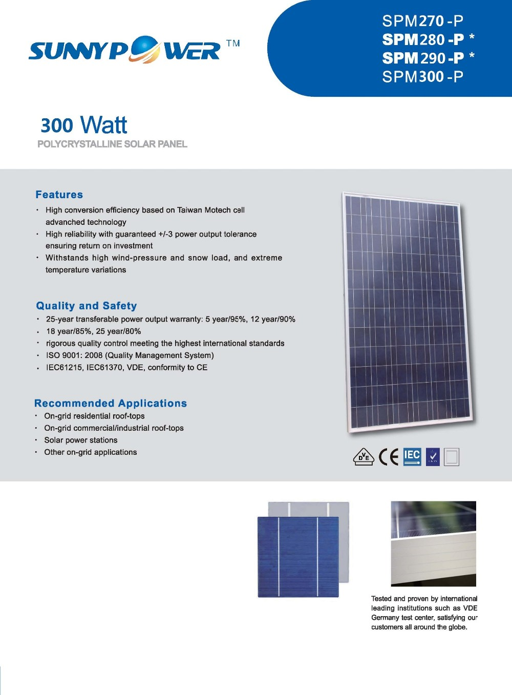IEC/VDE/TUV/CSA/UL/CEC/CE full certificated solar panel home system 250w 300w