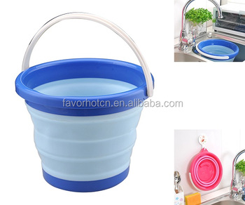 5L or 10L Round Silicone Folding Collapsible Bucket