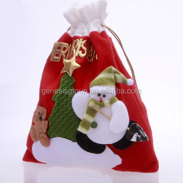 Cheap christmas drawstring gift bags in Alibaba
